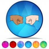 Fist Bump Shiny Button Set — Stock Vector