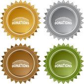 Donations web button — Vettoriale Stock