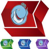 Whale web button — Stok Vektör