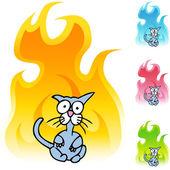 Scared Cat web icon — Stock Vector