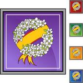 Memorial Wreath icon button — Cтоковый вектор