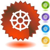 Buddhist Wheel Life Icon — Stock Vector