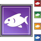 Fish web button — Stock vektor