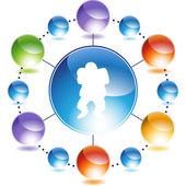 Linebacker web button — Stock Vector