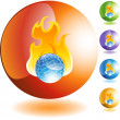 Burning Globe web button — Stock Vector #64130533