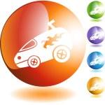 Hotrod Van web button — Stock Vector #64132317