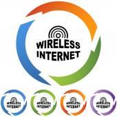 Sign Wireless Internet web button — Stock Vector
