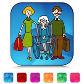 Moving senior to nursing home mosaic crystal set. — Stock Vector