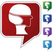 Surgical mask Speech Balloon Icon Set — Stock Vector