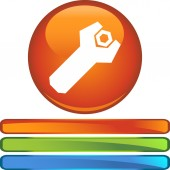 Wrench web button — Stock Vector