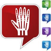 X-ray hand web button — Stock Vector