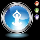 Business Woman Yoga web button — 图库矢量图片