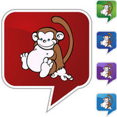 Monkey web button — ストックベクタ