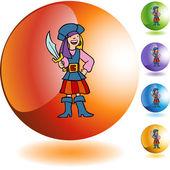 Pirate Girl button — Stock Vector