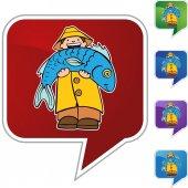 Fisherman Icon Button — ストックベクタ