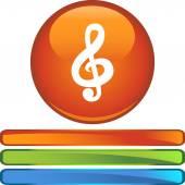 Music Note web button — Vettoriale Stock