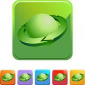 Arrow around Earth icon button — Vettoriale Stock