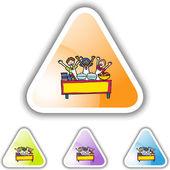 Kids in Buffet web icon — Stockvector
