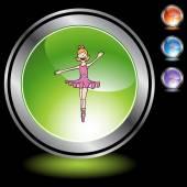Ballerina Girl web icon — Stock Vector