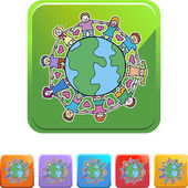 Global Kids unite the planet — Stock Vector