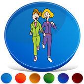 Two Women Jogging Gemstone Button Set — 图库矢量图片