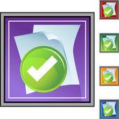 Checked Files  web button — Stock Vector