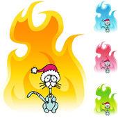 Skinny Christmas Cat — Stock Vector
