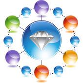 Tasto di web del diamante — Vettoriale Stock