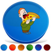 Pizza Eater Gemstone Button Set — Stock Vector