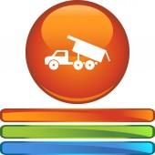 Dump Truck button — Stock Vector