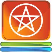 Pentagram button icon — Stock Vector