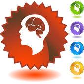 Brain icon web button — Stock Vector