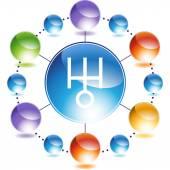 Uranus web button — Stock Vector