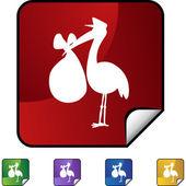 Stork web button — Stock Vector