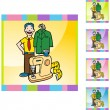 Tailor with a costume — Stock Vector #64141429