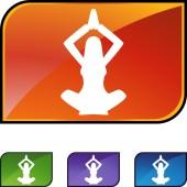 Business Woman Yoga web button — Stockvector