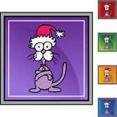 Stubborn Cat  in Santa hat — Stock Vector