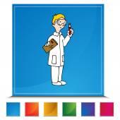 Lab Technician Button Set — Stock Vector