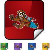 Flying Man icon button — Stock Vector