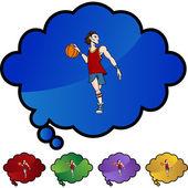 Icona del giocatore di basket — Vettoriale Stock