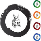 Rabbit web button — Vector de stock