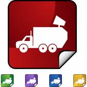 Garbage truck web button — Stock Vector
