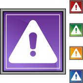 Warning sign web button — Stock Vector