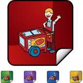 Ice Cream icon button — Vector de stock
