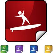 Surfer icon button symbol — Vector de stock