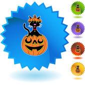 Halloween Cat button — Stock Vector