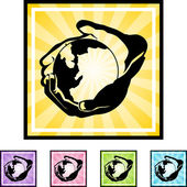 Hands Holding Earth web button — Stock Vector