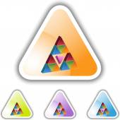 Pink Triangle web button — Stock Vector