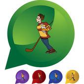 Hockey Player icon — Stok Vektör