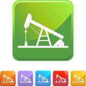 Oil Rig web button — Stock Vector